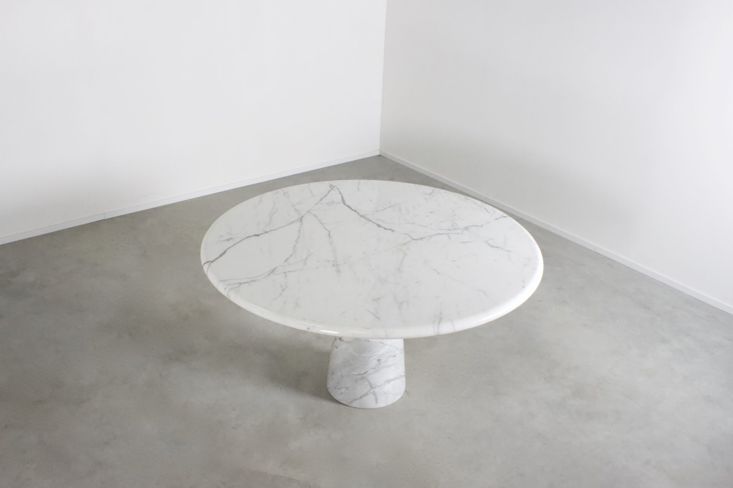 Round Carrara Marble Pedestal Dining Table Studio Cadmium