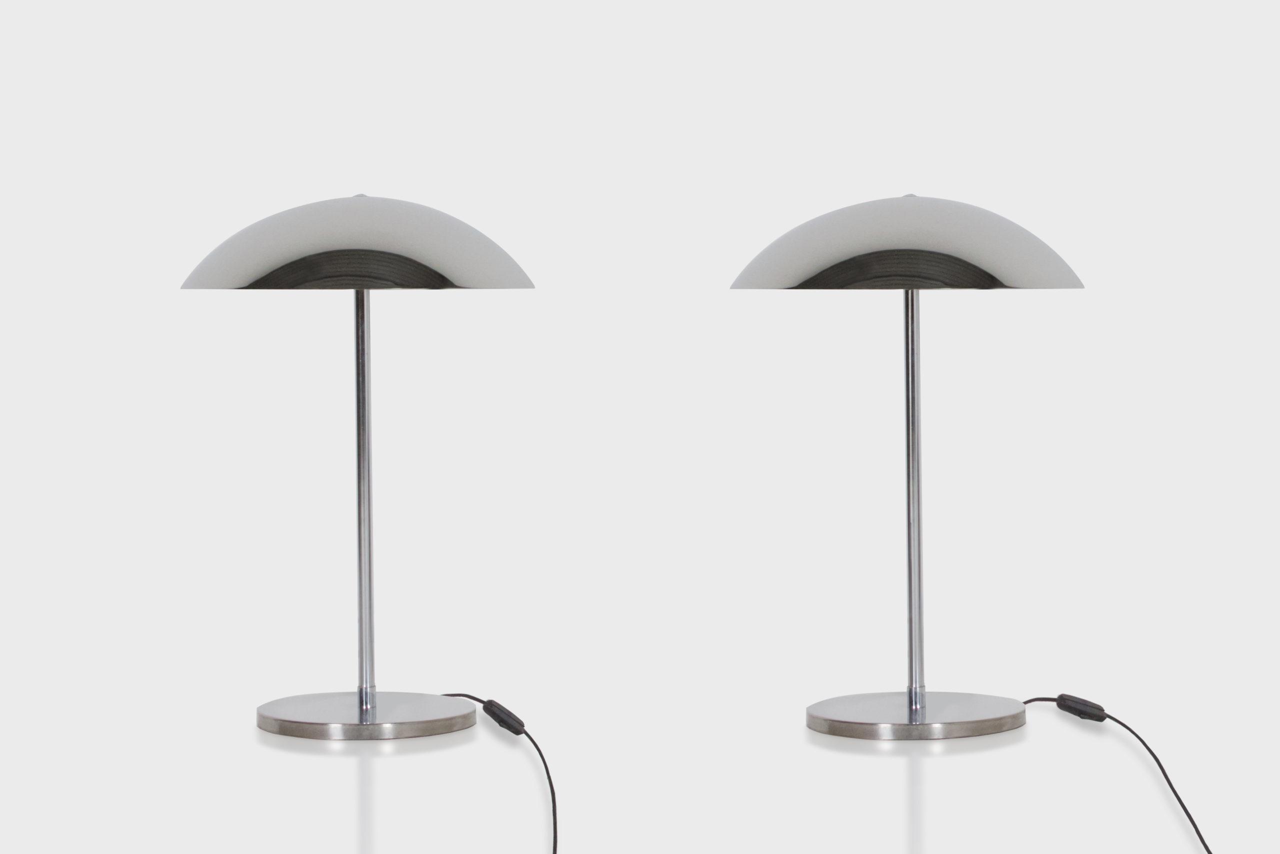 Pair of Elegant Bauhaus Table Lamps by Lumess Studio Cadmium