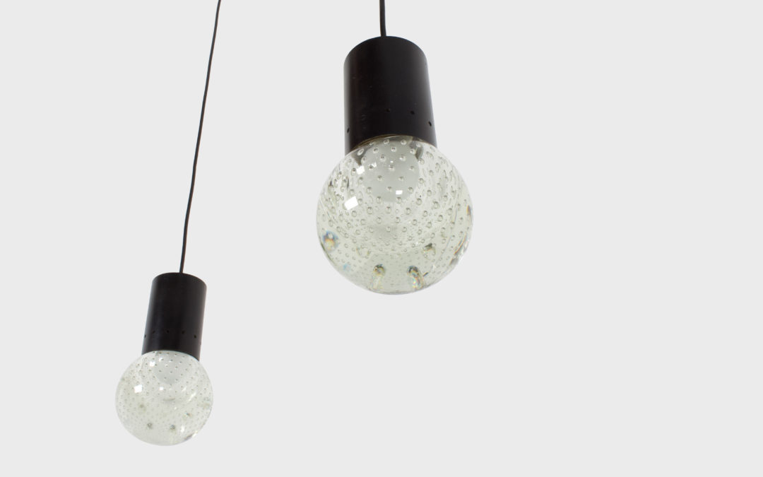 Set of Gino Sarfatti Arteluce Seguso, Bubble Glass Pendant Lamps