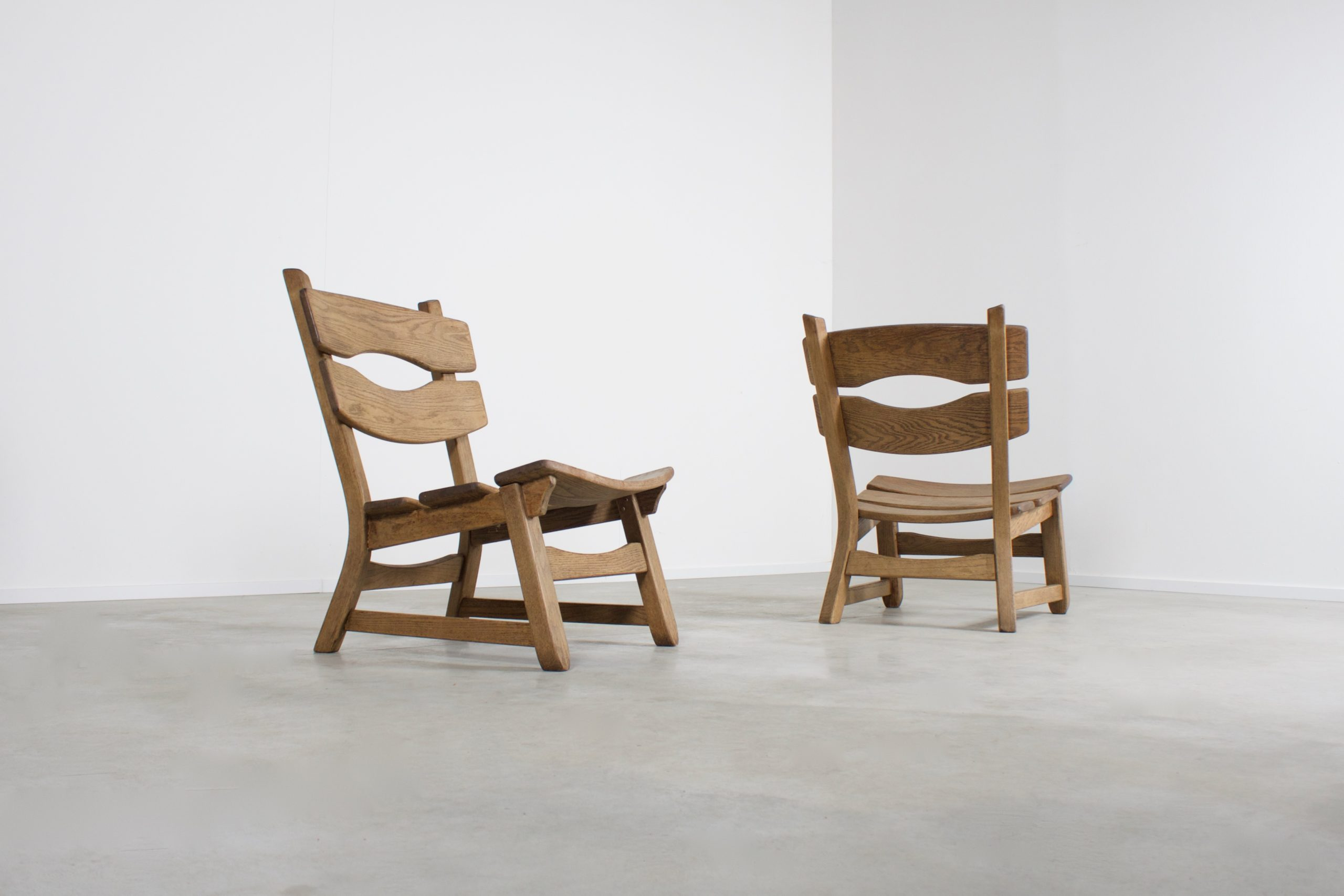 Solid Oak Brutalist Lounge Chairs