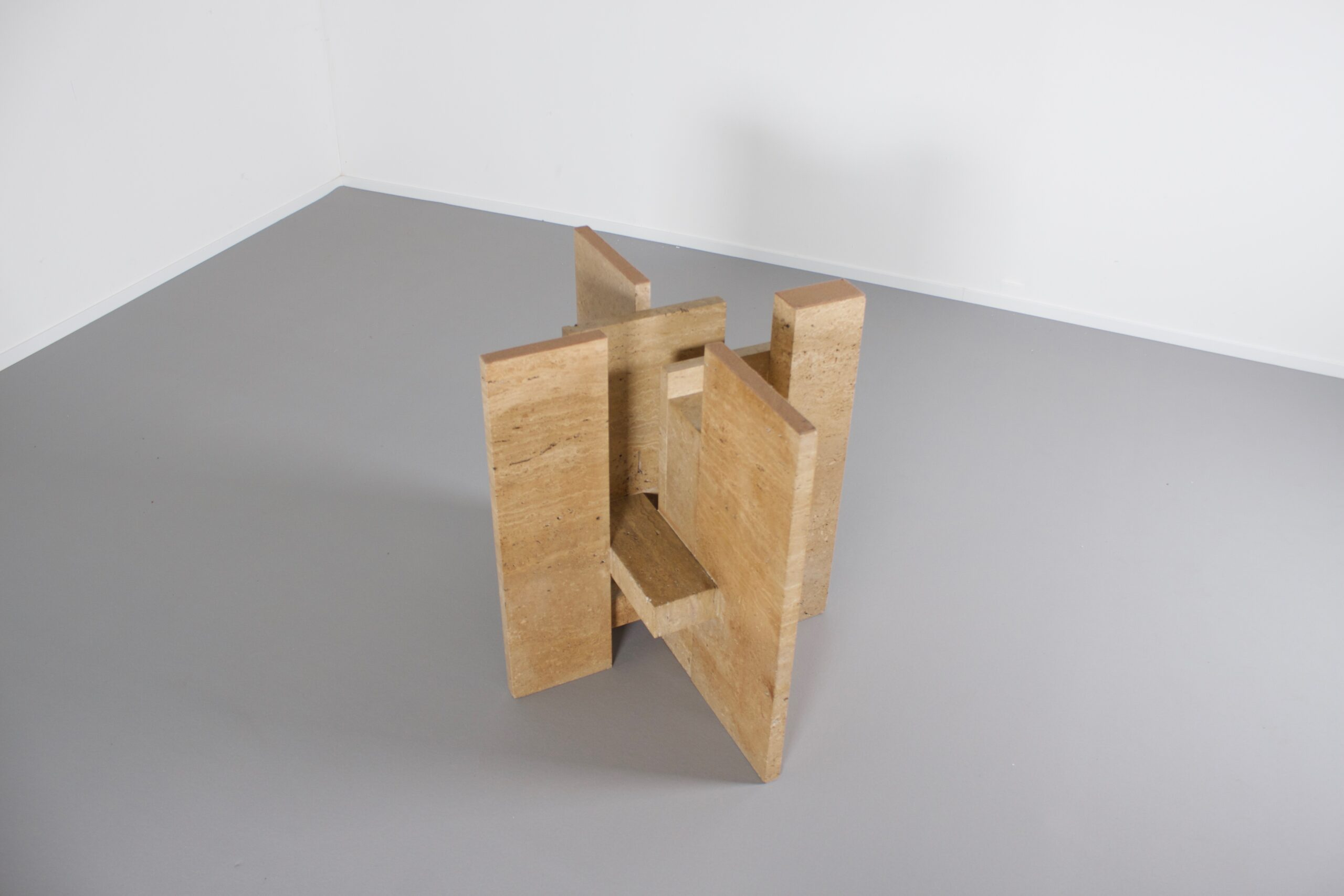 Sculptural Willy Ballez Dining Table in Travertine and Glass