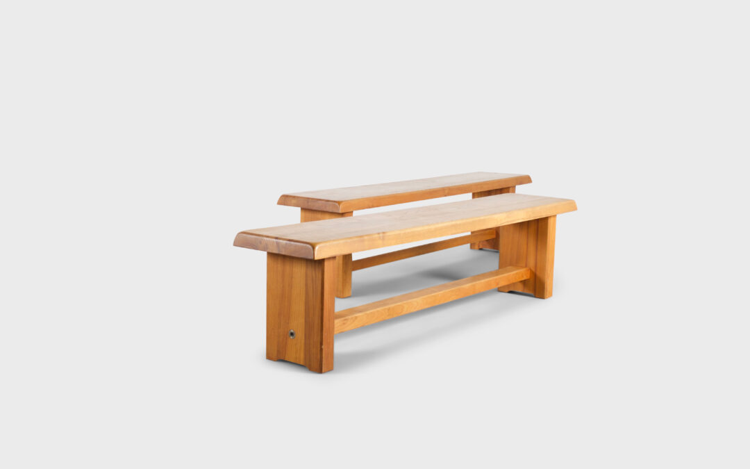 Set of Large Pierre Chapo S14 Benches in Solid Elmwood